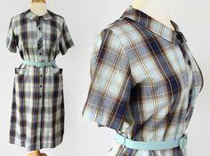 50s 60s Plus Size Dress Shirtwaist Plaid Rockabilly Housewife Lynda Lou by PetticoatsPlus on Etsy