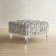 Pier 1 Imports Pisa Gray Faux Fur & Acrylic Square Ottoman