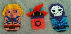 He-Man: Masters of the Universe Characters (L-R: He-Man, Orco, Skeletor [with stitching detail])