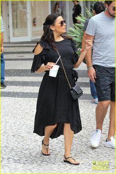 Pregnant Eva Longoria Grabs Lunch with Olivia Munn in Miami
