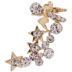 Gold Rhinestone Star Decor Stylish Ear Cuff (23 PEN) ❤ liked on Polyvore featuring jewelry, gold, star ear cuff, rhinestone jewelry, gold ear cuff jewelry, ear cuff jewelry and gold jewellery