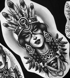 Image may contain: 1 person Tattoo Girls, Girl Face Tattoo, Tattoo Designs For Girls, Sugar Skull Girl Tattoo, Native American Tattoos, Native Tattoos, Native American Girls, Forearm Tattoos, Body Art Tattoos