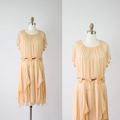 RESERVED FOR AURORE 1920s Gatsby Dress Nude Silk Rosette Wedding Bridal - S