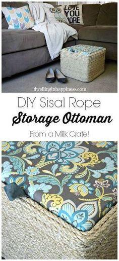 diy sisal rope storage ottoman, crafts, diy, organizing, repurposing upcycling, storage ideas