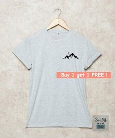 ffef87b9 Mountains Shirt Pocket Shirts Hiking Tshirt Camping T-Shirt Gift Size S , M  , L , XL , 2XL , 3XL Gre