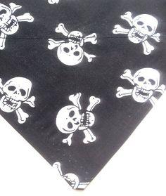 Rock out bad dog! handmade bandana in XS to XL at woofwebshop.co.uk #baddog #rockdog #withtheband #boydog #skulls