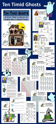 Ten Timid Ghosts Activity Packet: This packet complements the book, Ten Timid Ghosts, by Jennifer O'Connell.  Contents include: * Comprehension quiz * Rhyming sheet * Vocabulary activity * Phonics sheet * Adjectives sheet * Conflict resolution writing activity * Compare/contrast - Ten Timid Ghosts & Room on the Broom * Subtraction/addition sheet - 10 family * Groupings of 10 math sheet * Double-digit addition/subtraction sheet * Witch's Hat Craft * Haunted House Craft * Answer keys