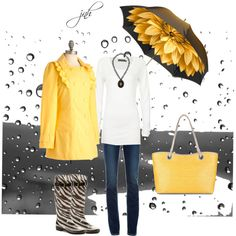 Sunny Yellow for a Rainy Day--I love the rain!  Boots super cute!
