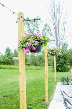Garden Designs Objects Ideas 2018 : Add Outdoor String Lights on DIY Posts for a beautiful entertaining space and co - Outdoor Lighting - Ideas of Outdoor Lighting Patio Lighting, Landscape Lighting, Lighting Ideas, Lighting Design, Outdoor Chandelier, Rustic Outdoor, Outdoor Decor, Outdoor Spaces, Rustic Pergola