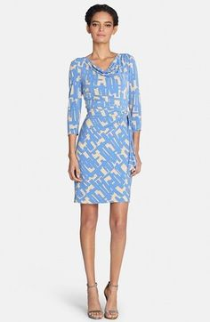 Free shipping and returns on Tahari Drape Neck Print Jersey Sheath Dress (Regular & Petite) at Nordstrom.com. A touch of metallic hardware gathers the draping faux-wrap waist of a flattering jersey dress crowned with an elegant cowl neckline.