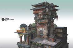 A genre of science fiction and a lawless subculture in an oppressive society dominated by computer technology and big corporations. Environment Painting, Environment Concept Art, Environment Design, Bg Design, Asian Architecture, Building Concept, Background Drawing, Cyberpunk Art, Environmental Art