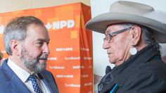 10 - 7 - Enoch, Alberta - Click enlarged image to view clip - Amid all the heavy scripting of the campaign, today brought a rare moment of realism, as NDP Leader Tom Mulcair's handlers were forced to cede control of the moment and let what would happen, happen.