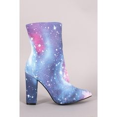 Galaxy Print Pointy Toe Chunky Heeled Ankle Boots ($53) ❤ liked on Polyvore featuring shoes, boots, ankle booties, pointed-toe boots, chunky heel ankle booties, chunky heel ankle boots, chunky heel booties and pointed toe ankle boots