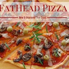 You have seriously got to try the best and easiest recipe for low carb pizza out there - FatHead pizza. It's low carb, wheat free, gluten free and the easiest recipe you'll find. Googles top low carb pizza. #lowcarb #wheatfree #sugarfree #glutenfree | ditchthecarbs.com