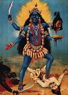 Kali , also known as Kālikā or Shyāmā , is a Hindu goddess. Kali is the chief of the Mahavidyas, a group of ten Tantric goddesses. Kali Mata, Indian Goddess Kali, Goddess Lakshmi, Mother Kali, Mother Goddess, Kali Hindu, Hindu Art, Shiva Art, Shiva Shakti