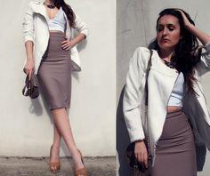 pencil skirt + bustier top