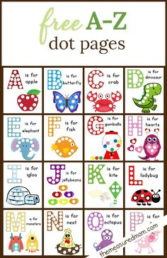 Dot Sticker Pages The Measured Mom is part of Alphabet preschool - These free alphabet dot printables are a wonderful way to build fine motor skills and letter knowledge! My kids love these worksheets finemotor alphabet doadot Preschool Literacy, Preschool Letters, Learning Letters, Kindergarten, Preschool Themes, Preschool Lessons, Preschool Worksheets, Letter Activities, Activities For Kids