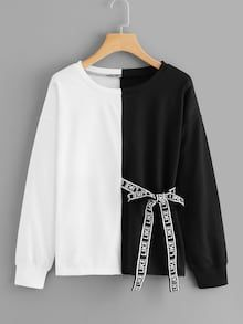 To find out about the Letter Print Ribbon Decoration Sweatshirt at SHEIN, part of our latest Sweatshirts ready to shop online today! Teen Fashion Outfits, Girl Fashion, Casual Outfits, Fashion Dresses, Womens Fashion, Fashion Decor, Fashion Black, Style Fashion, Sweat Shirt