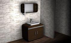 Pl(a)ywood - skříňka do koupelny (překližka impregnovaná silikonovým lakem, ohnutý kovový plát na odkládání ručníků)