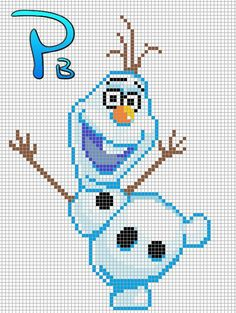 Olaf Frozen perler pattern - Patrones Beads / Plantillas para Hama by paige Melty Bead Patterns, Hama Beads Patterns, Beading Patterns, Cross Stitch Designs, Cross Stitch Patterns, Cross Stitching, Cross Stitch Embroidery, Art Perle, Stitch Cartoon