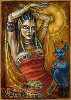 I am Bast, cat goddess of Egypt.  I am graceful, flexible, playful, and affectionate.  I radiate the warmth and light of the glorious sun.