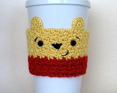 A cute and fun handmade crochet Snow White coffee cup cozy!    Perfect for Snow White fans, this cozy will keep your hands safe from hot