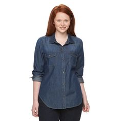 Juniors' Plus Size Mudd® Shirttail Denim Shirt, Girl's, Size: 2XL, Dark Blue