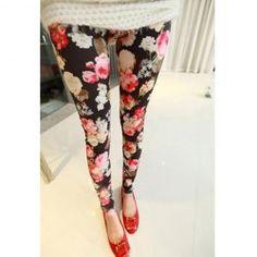 Retro Style Slimming Elastic Flowers Printed Cotton Blend Legging For Women