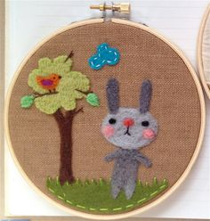 Woodland Bunny Needle Felted Embroidery Hoop Art by Val's Art Studio. $48.00, via Etsy.
