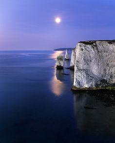 Moonlit Pinacles, Dorset, England