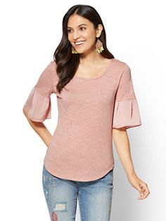 Shop Flutter-Sleeve Crewneck Tee. Find your perfect size online at the best price at New York & Company.