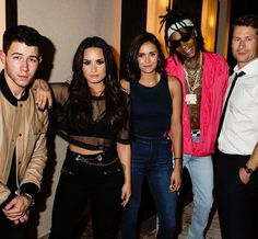 Nina Dobrev, Demi Lovato, Nick Jonas, Wiz Khalifa and Glen Powell At XS Nightclub in Las Vega // July 14, 2017.