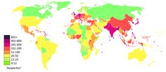 list of countries and dependencies by population density - 236×103
