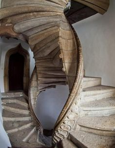 """The Castle of Graz (Grazer Burg), Austria, 1438The incredible conjoined spiral staircases were added to the castle by an unknown builder in 1499. Called """"Stairs of Reconciliation"""": If two people..."""