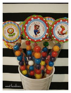 Super Mario Bros Gumball M's Party Favors  set by sweetbambinos, $22.00