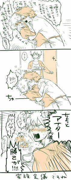 Bakugou × Kirishima & Bakugou's mom lol xD