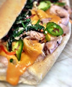 """The Flying Stove -  Meet the """"It's Always Sunny Cheese Pork."""" Our version of a Philly Style sandwich. Today, MK Consignment WEST, 11-1:30"""