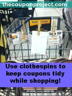 Use clothespins to keep coupons tidy while shopping.