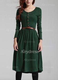 Sukienki Midi Modne Len Solidny Długi Rękaw (1120888) @