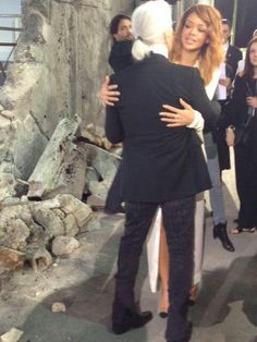 Rihanna with karl lagerfeld at chanel haute couture paris Kyle Anderson @Kyle Anderson