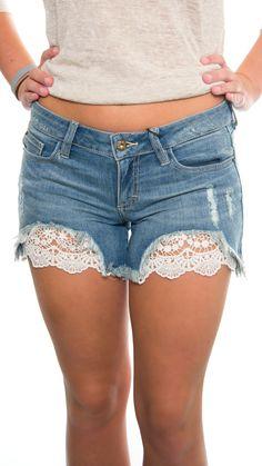 Destroyed Crochet Detailed Shorts