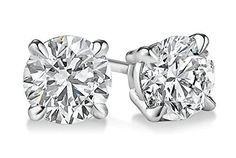 PARIKHS Round Diamond stud Popular Quality in 14K White Gold (0.12 ctw Clarity-I2)