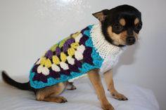 Small Dog Sweater For Mini Dog Pet Chihuahua Yorkie Min Pin Knit Crochet Granny Square Pattern Green Blue Yellow White Purple Soft Warm FUN