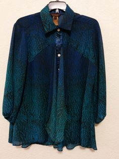 Multiples - Women's Sheer Layered Top (Size Small) Blue/Turquoise Blouse with 3/4 Sleeves #Multiples #SheerLayeredBlouse #Dressy  ..... Visit all of our online locations ..... (www.stores.eBay.com/variety-on-a-budget) ..... (www.amazon.com/shops/Variety-on-a-Budget) ..... (www.etsy.com/shop/VarietyonaBudget) ..... (www.bonanza.com/booths/VarietyonaBudget ) .....(www.facebook.com/VarietyonaBudgetOnlineShopping)