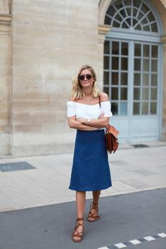 off-the-shoulder tops and midi skirts