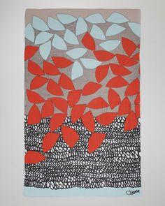 Diane von Furstenberg Scribble Leaf-Print Scarf