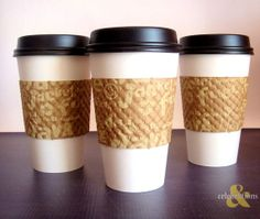 16 oz. White Paper Coffee Cups with lid and Kraft thermal sleeves.