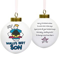 Personalised Purple Ronnie Christmas Bauble - World's Best Son  from Personalised Gifts Shop - ONLY £10.99