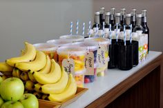 A healthy assortment of snacks and drinks made for on-the-go eating is smart and energizing.