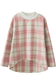 #Classic #Plaid High-Low #Blouse - OASAP.com 2015 Valentine Sale + FREE SHIPPING WORLDWIDE